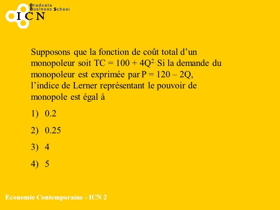 Economie Contemporaine - ICN 2 Supposons que la fonction de coût total dun monopoleur soit TC = 100 + 4Q 2. Si la demande du monopoleur est exprimée p