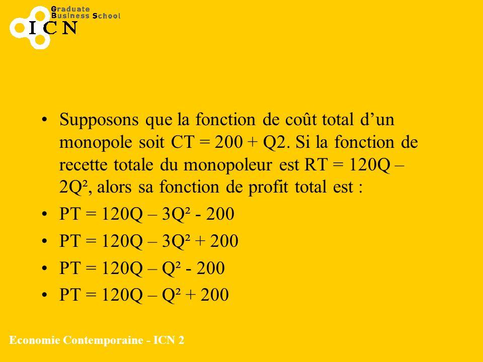 Economie Contemporaine - ICN 2 Supposons que la fonction de coût total dun monopole soit CT = 200 + Q2. Si la fonction de recette totale du monopoleur