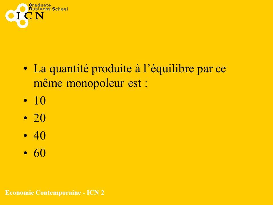 Economie Contemporaine - ICN 2 La quantité produite à léquilibre par ce même monopoleur est : 10 20 40 60