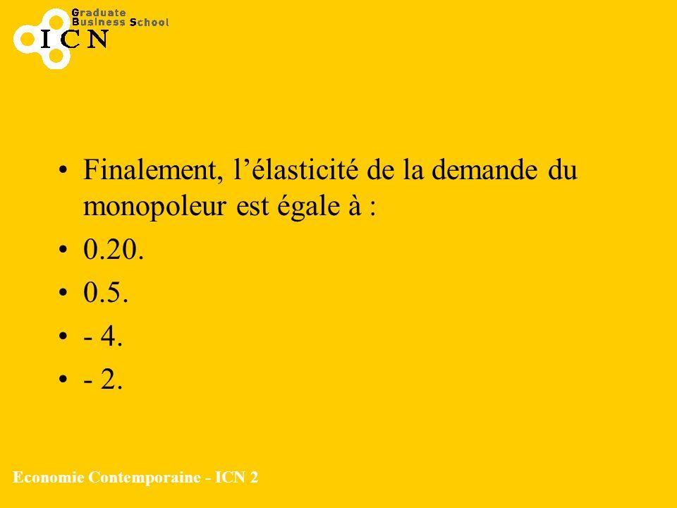 Economie Contemporaine - ICN 2 Finalement, lélasticité de la demande du monopoleur est égale à : 0.20. 0.5. - 4. - 2.