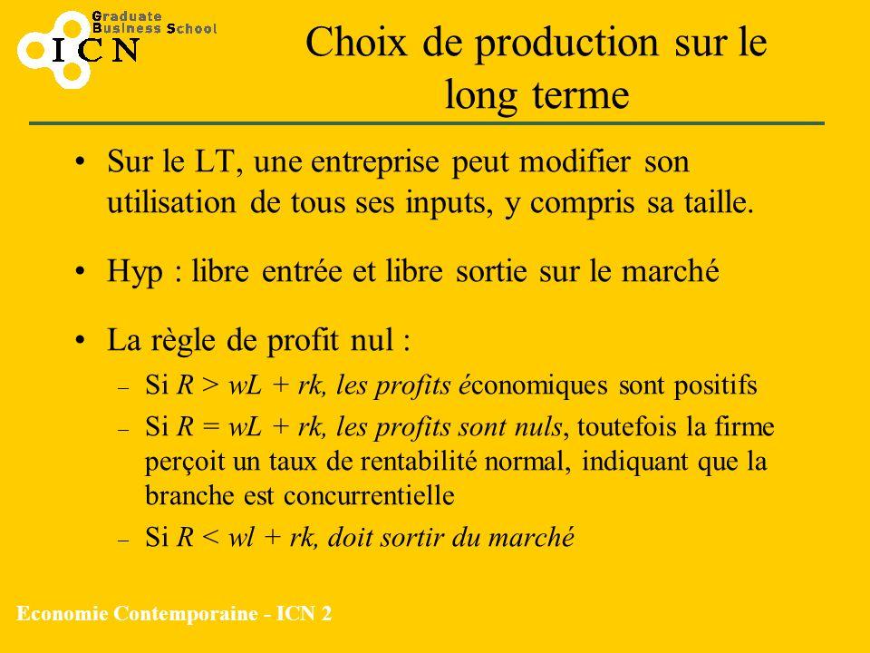 Economie Contemporaine - ICN 2 Choix de production sur le long terme Sur le LT, une entreprise peut modifier son utilisation de tous ses inputs, y com