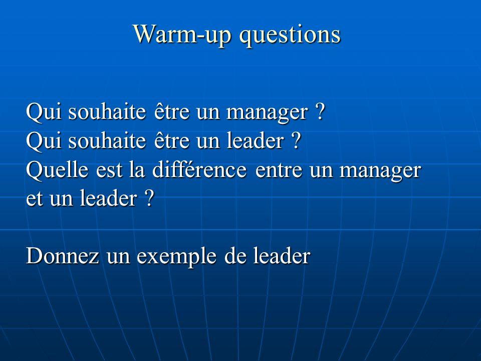 Warm-up questions Qui souhaite être un manager ? Qui souhaite être un leader ? Quelle est la différence entre un manager et un leader ? Donnez un exem