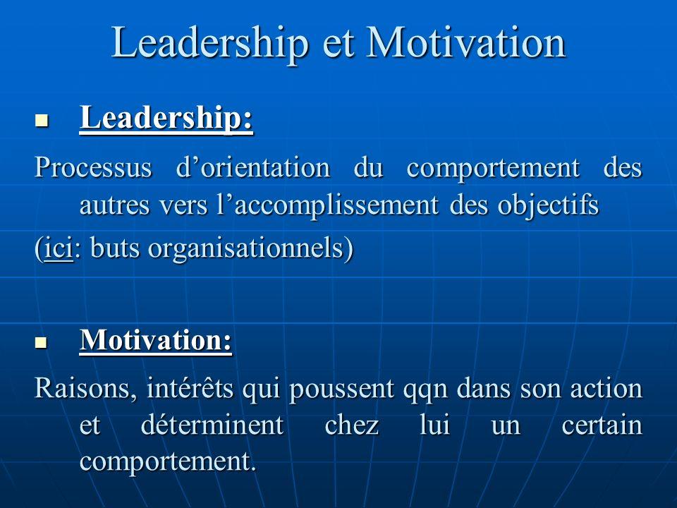 Leadership et Motivation Leadership: Leadership: Processus dorientation du comportement des autres vers laccomplissement des objectifs (ici: buts orga