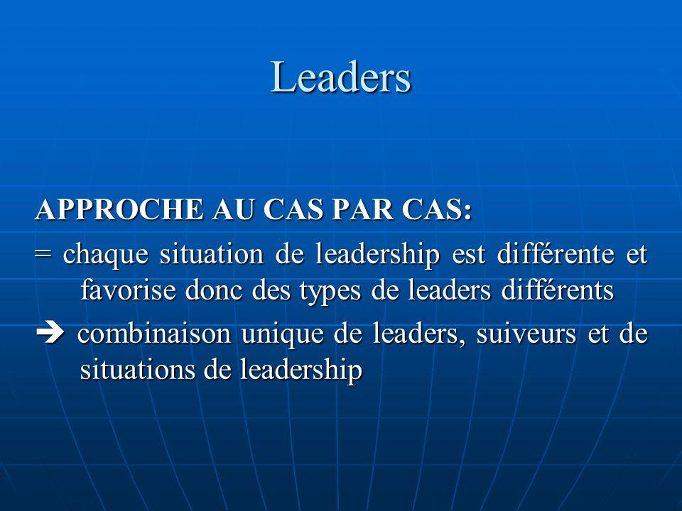 Leaders APPROCHE AU CAS PAR CAS: = chaque situation de leadership est différente et favorise donc des types de leaders différents combinaison unique d