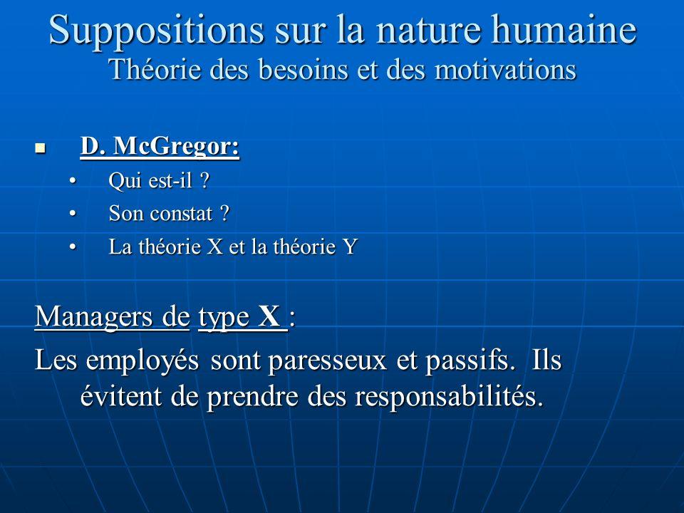 Suppositions sur la nature humaine Théorie des besoins et des motivations D. McGregor: D. McGregor: Qui est-il ?Qui est-il ? Son constat ?Son constat