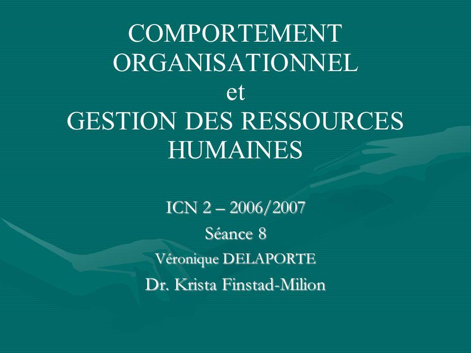COMPORTEMENT ORGANISATIONNEL et GESTION DES RESSOURCES HUMAINES ICN 2 – 2006/2007 Séance 8 Véronique DELAPORTE Dr.