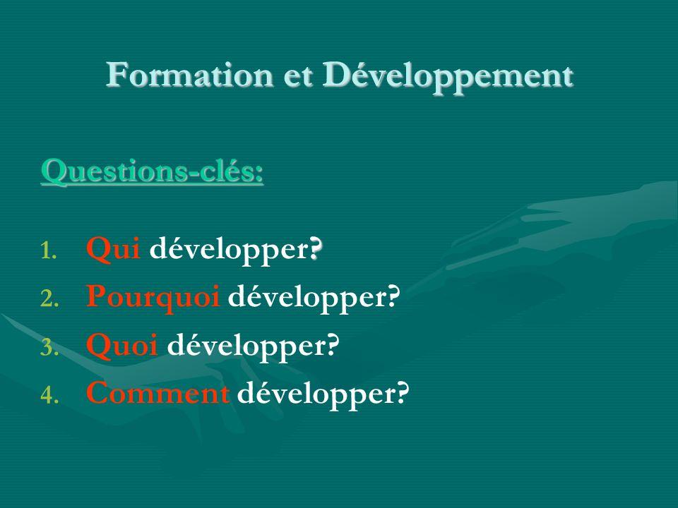 Formation et Développement Questions-clés: 1.1. Qui développer.