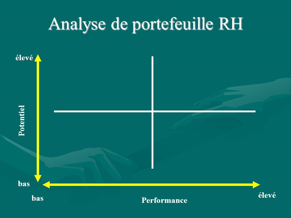 Performance Potentiel élevé bas élevé bas Analyse de portefeuille RH