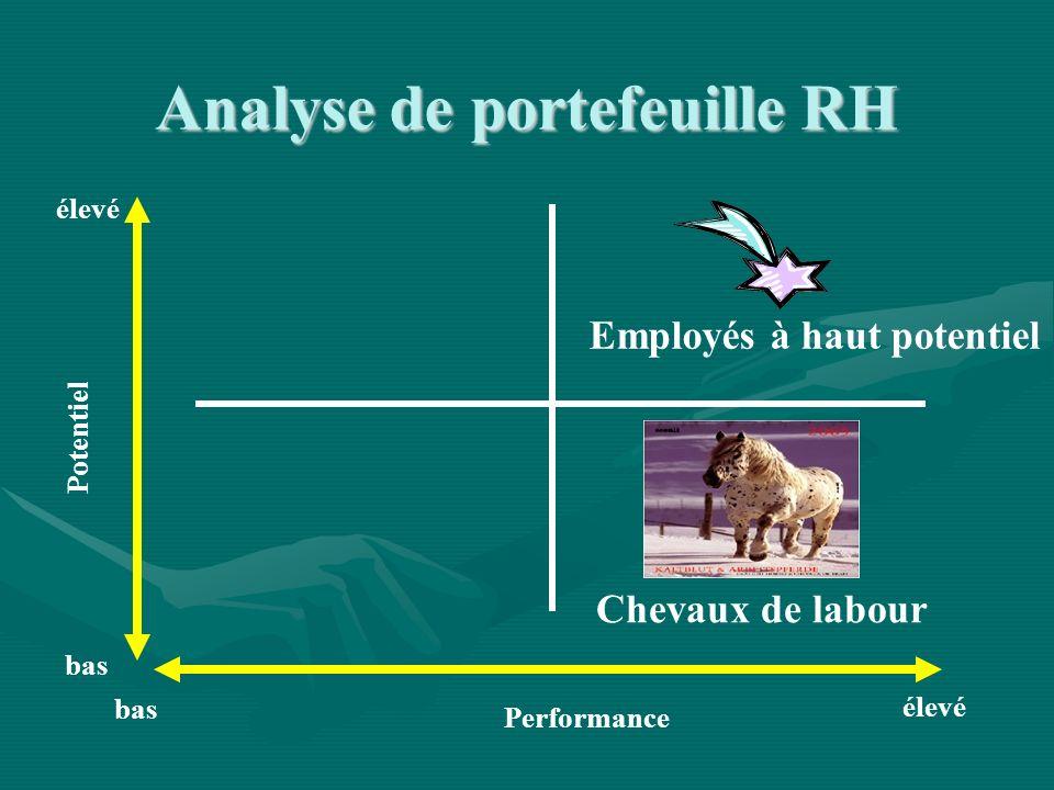 Performance Potentiel élevé bas élevé bas Employés à haut potentiel Chevaux de labour Analyse de portefeuille RH