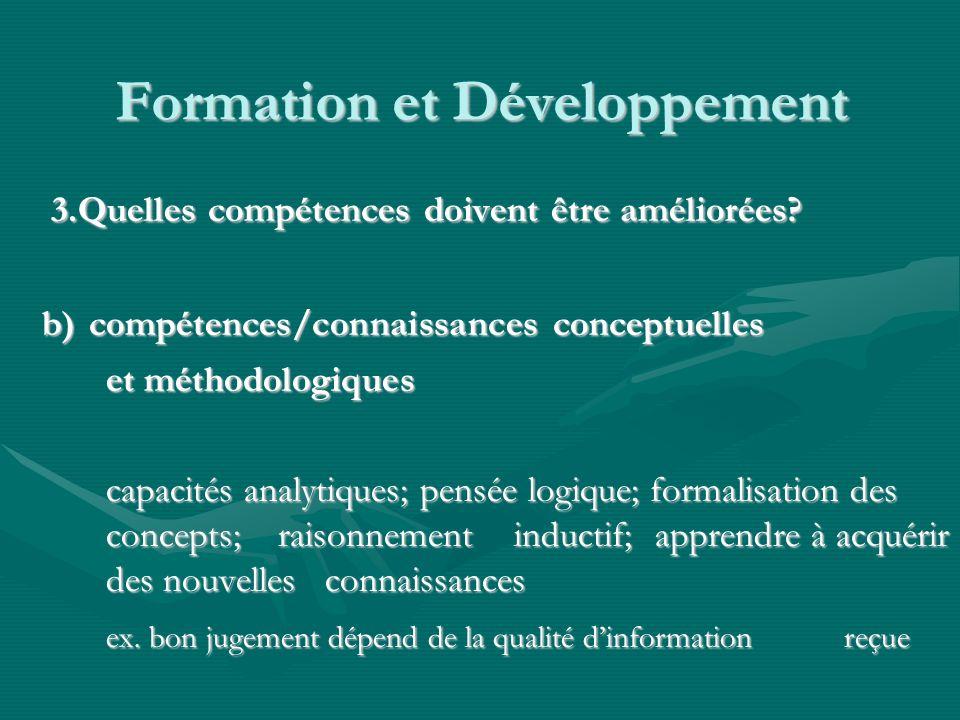 Formation et Développement 3.Quelles compétences doivent être améliorées.