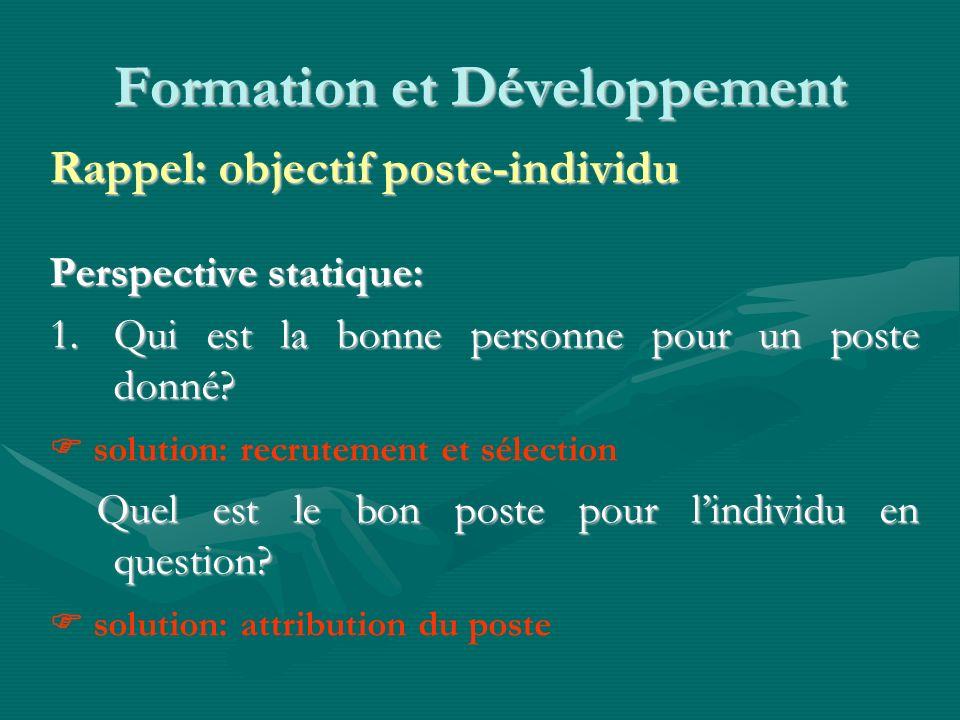 Formation et Développement Rappel: objectif poste-individu Perspective statique: 1.Qui est la bonne personne pour un poste donné.