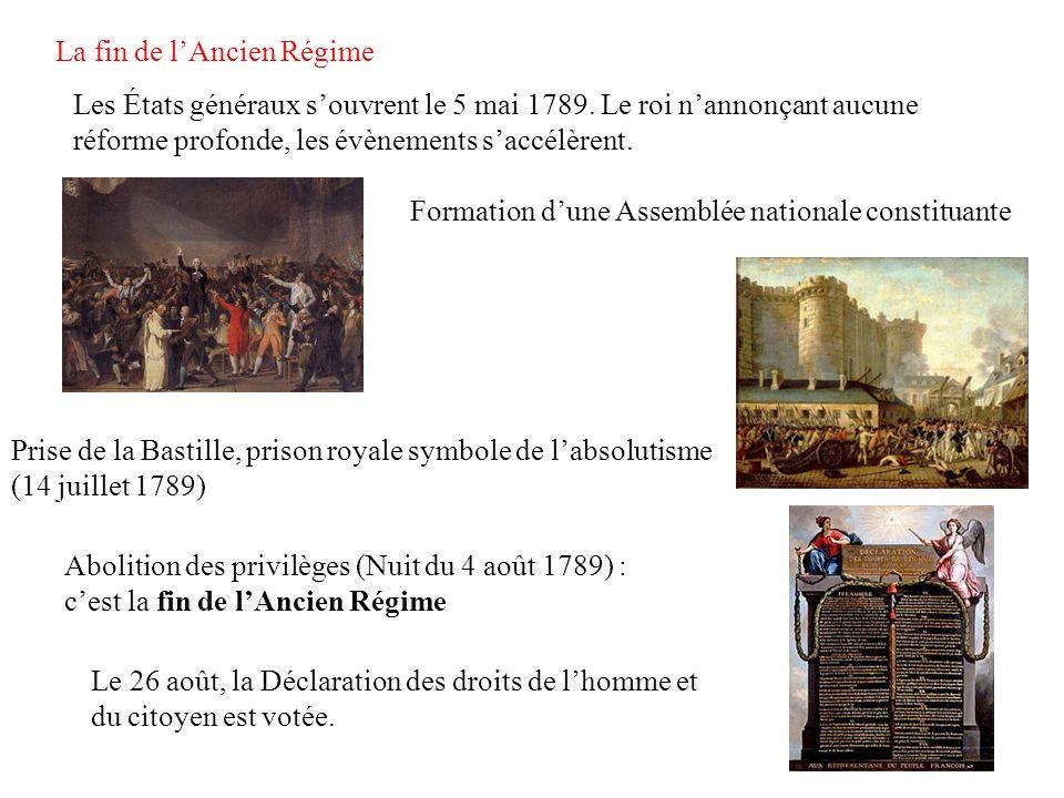 La fin de lAncien Régime Les États généraux souvrent le 5 mai 1789. Le roi nannonçant aucune réforme profonde, les évènements saccélèrent. Formation d