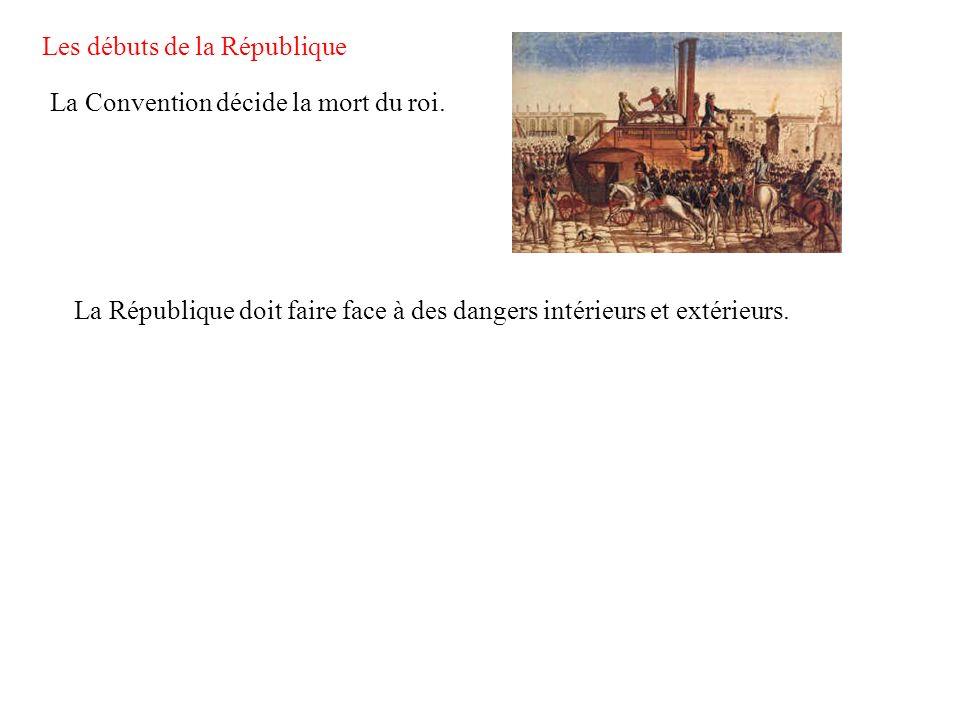 Les débuts de la République La Convention décide la mort du roi. La République doit faire face à des dangers intérieurs et extérieurs.