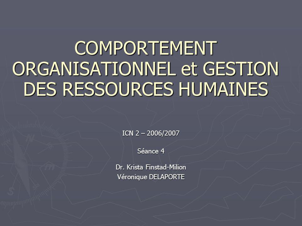 COMPORTEMENT ORGANISATIONNEL et GESTION DES RESSOURCES HUMAINES ICN 2 – 2006/2007 Séance 4 Dr.