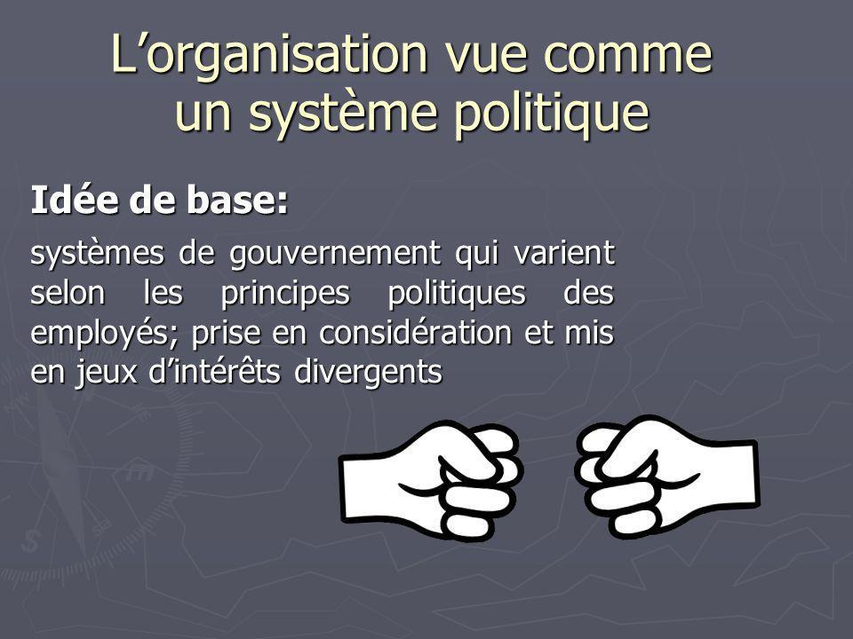 Lorganisation vue comme un système politique Idée de base: systèmes de gouvernement qui varient selon les principes politiques des employés; prise en considération et mis en jeux dintérêts divergents