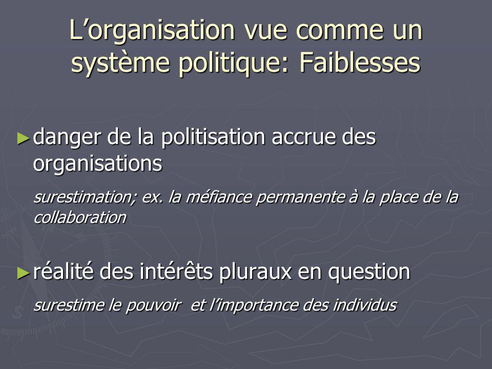 Lorganisation vue comme un système politique: Faiblesses danger de la politisation accrue des organisations danger de la politisation accrue des organisations surestimation; ex.
