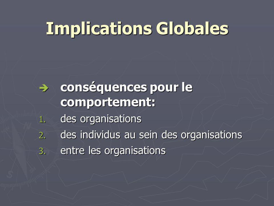 Implications Globales conséquences pour le comportement: conséquences pour le comportement: 1.