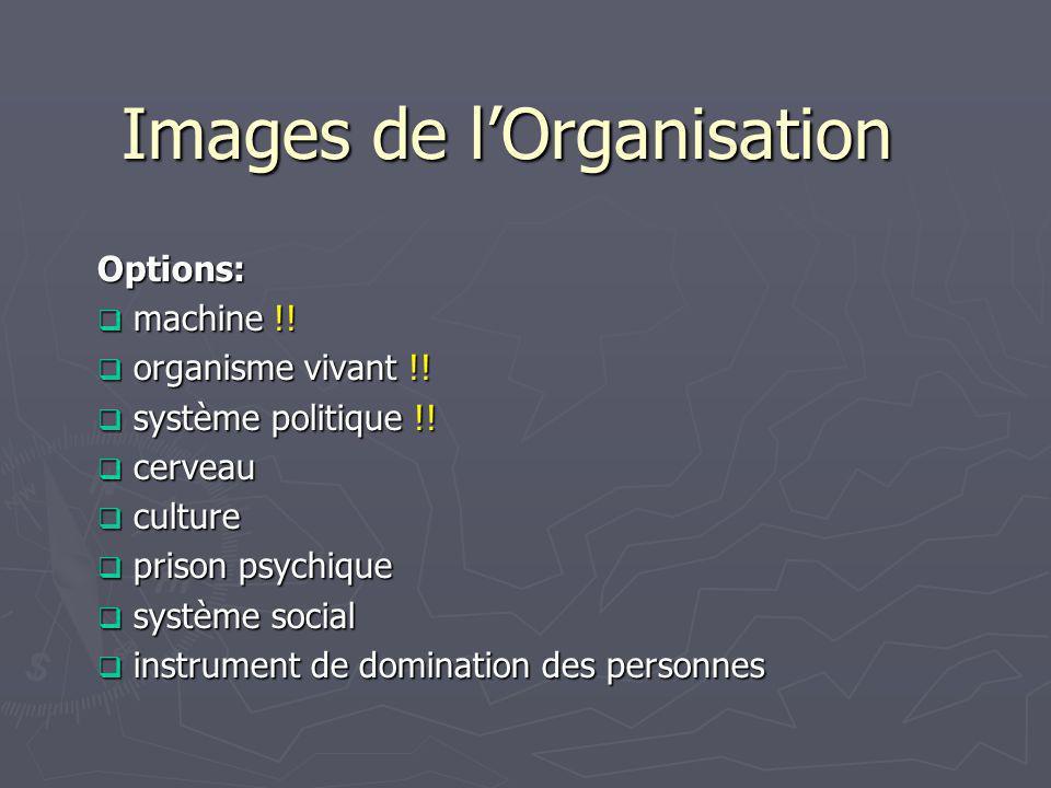 Lorganisation vue comme une machine Idée de base: Lorganisation = un ensemble de postes de travail bien définis, hiérarchiquement organisés selon des voies de décision ou de communication