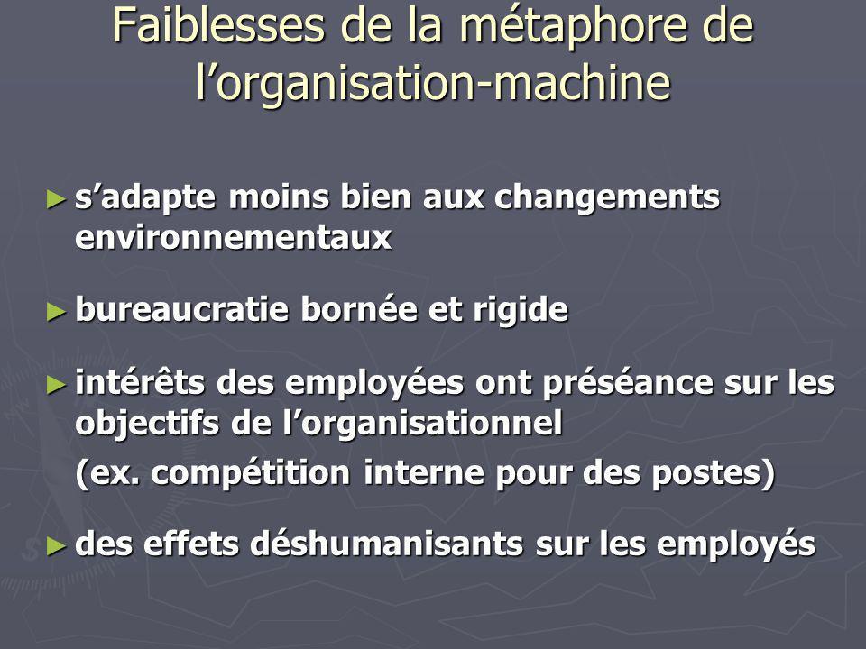 Réflexion : Est-ce que lorganisation en tant que système, peut être représentée et comprise dans sa complexité, autrement que par le biais de lutilisation de métaphores et dimages associées ?