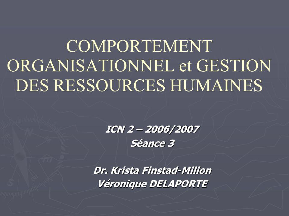 COMPORTEMENT ORGANISATIONNEL et GESTION DES RESSOURCES HUMAINES ICN 2 – 2006/2007 Séance 3 Dr.