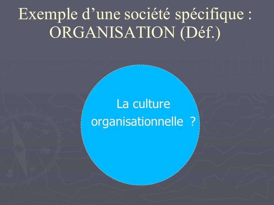 Exemple dune société spécifique : ORGANISATION (Déf.) La culture organisationnelle