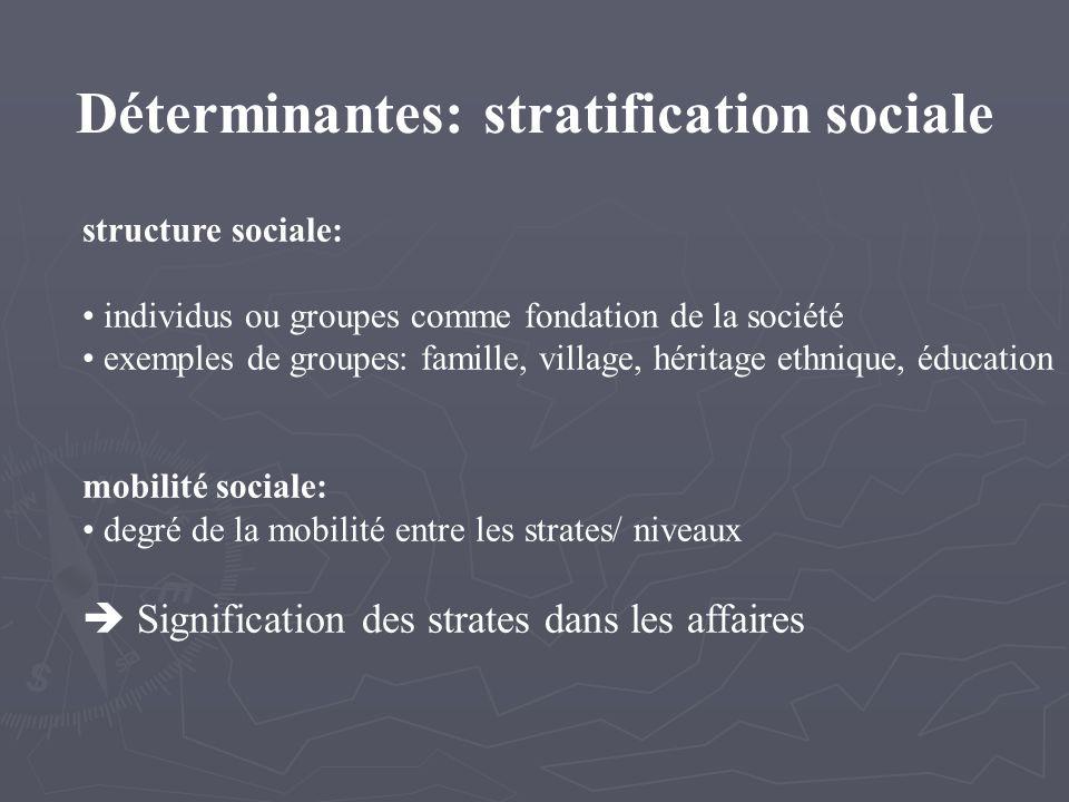 Déterminantes: stratification sociale structure sociale: individus ou groupes comme fondation de la société exemples de groupes: famille, village, héritage ethnique, éducation mobilité sociale: degré de la mobilité entre les strates/ niveaux Signification des strates dans les affaires