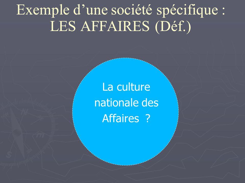Exemple dune société spécifique : LES AFFAIRES (Déf.) La culture nationale des Affaires