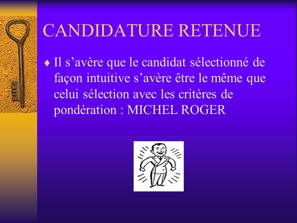 CANDIDATURE RETENUE Il savère que le candidat sélectionné de façon intuitive savère être le même que celui sélection avec les critères de pondération