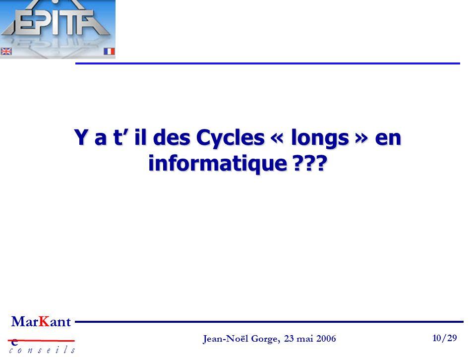 Page 10 Jean-Noël Gorge 3 mai 1999 10/58 MarKant e c o n s e i l s Jean-Noël Gorge, 23 mai 2006 10/29 Y a t il des Cycles « longs » en informatique ??
