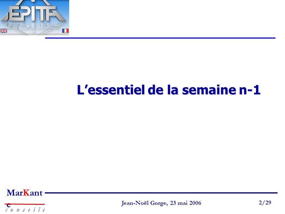 Page 2 Jean-Noël Gorge 3 mai 1999 2/58 MarKant e c o n s e i l s Jean-Noël Gorge, 23 mai 2006 2/29 Lessentiel de la semaine n-1