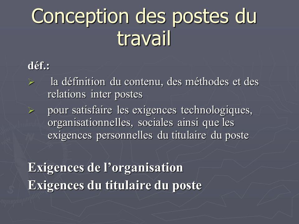 Conception des postes du travail déf.: la définition du contenu, des méthodes et des relations inter postes la définition du contenu, des méthodes et
