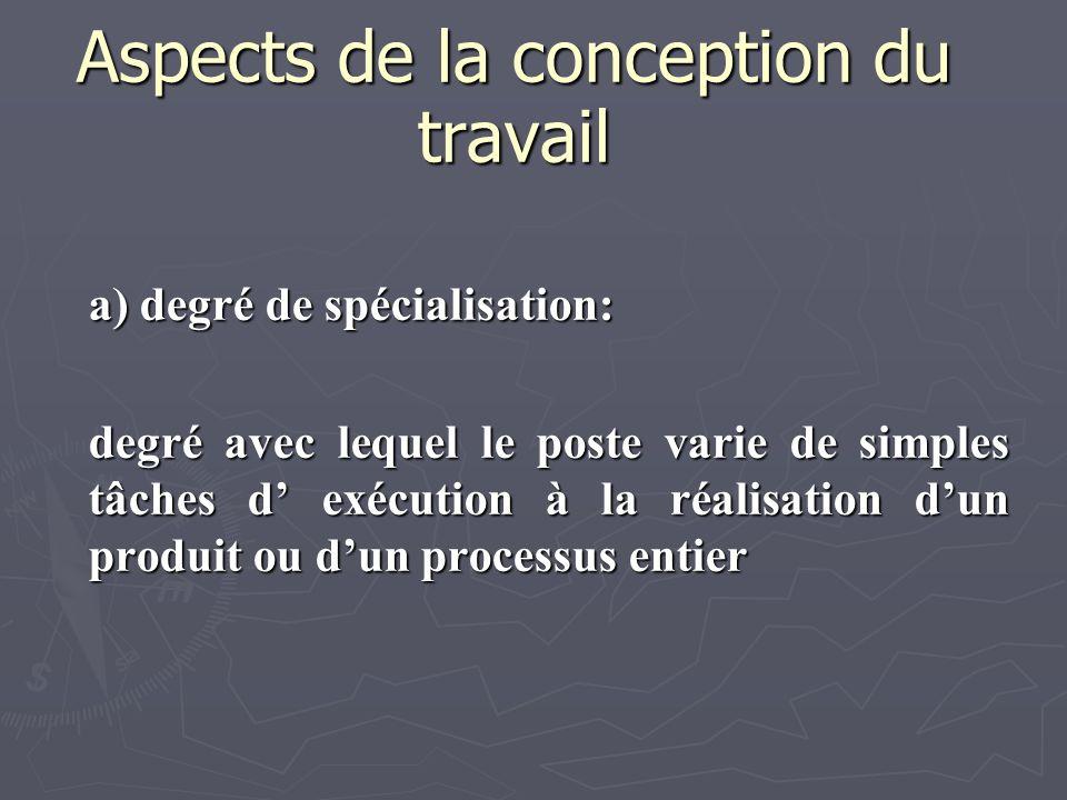 Aspects de la conception du travail a) degré de spécialisation: degré avec lequel le poste varie de simples tâches d exécution à la réalisation dun pr