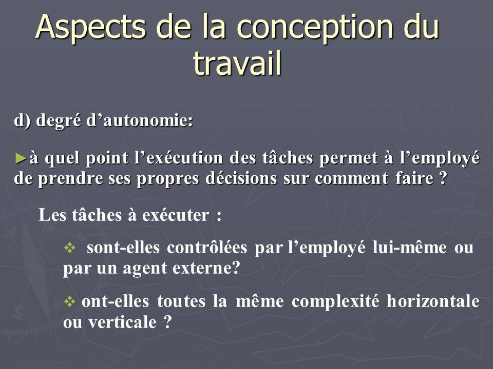 Aspects de la conception du travail d) degré dautonomie: à quel point lexécution des tâches permet à lemployé de prendre ses propres décisions sur com