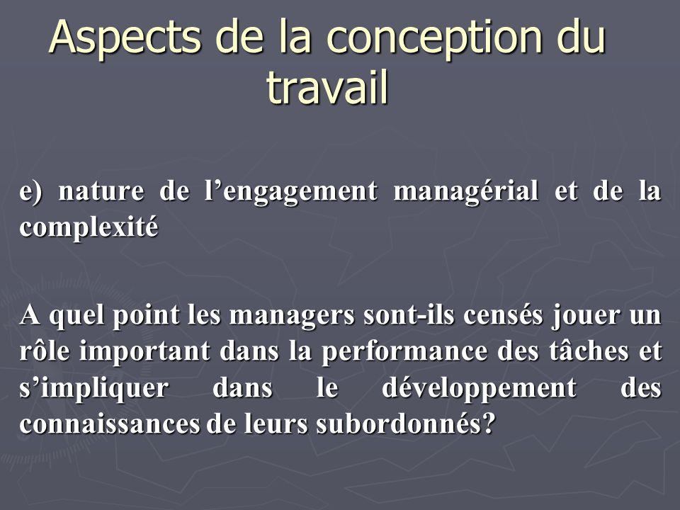 Aspects de la conception du travail e) nature de lengagement managérial et de la complexité A quel point les managers sont-ils censés jouer un rôle im