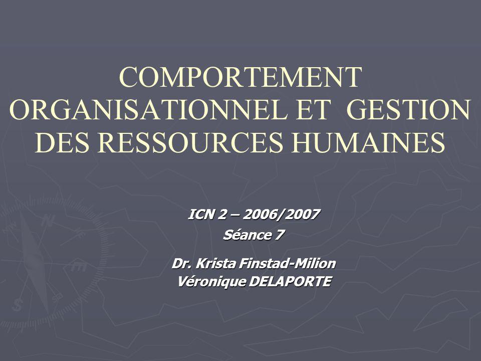 COMPORTEMENT ORGANISATIONNEL ET GESTION DES RESSOURCES HUMAINES ICN 2 – 2006/2007 Séance 7 Dr.