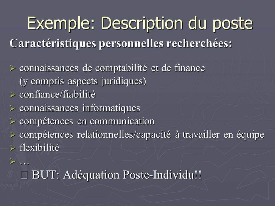 Exemple: Description du poste Caractéristiques personnelles recherchées: connaissances de comptabilité et de finance connaissances de comptabilité et