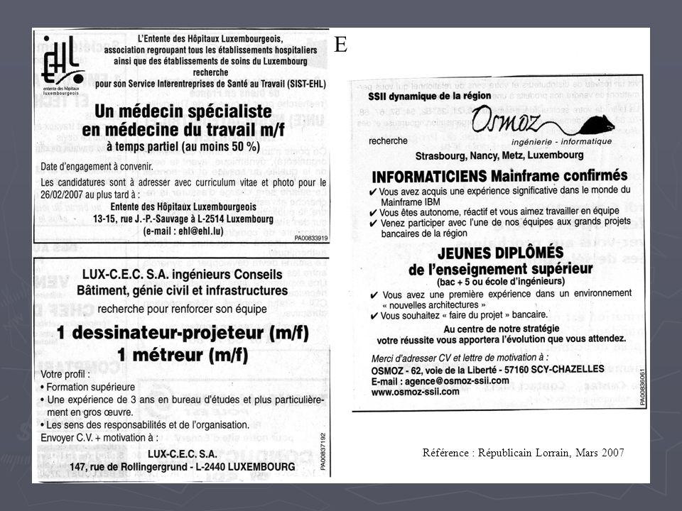 E Référence : Républicain Lorrain, Mars 2007
