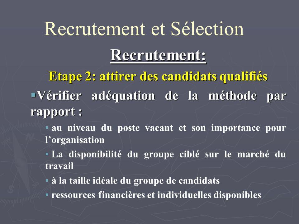 Recrutement et Sélection Recrutement: Etape 2: attirer des candidats qualifiés Vérifier adéquation de la méthode par rapport : Vérifier adéquation de