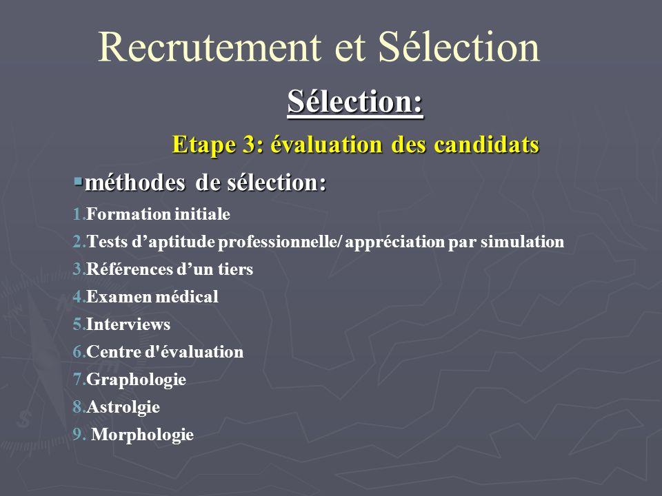 Recrutement et Sélection Sélection: Etape 3: évaluation des candidats méthodes de sélection: méthodes de sélection: 1. 1.Formation initiale 2. 2.Tests