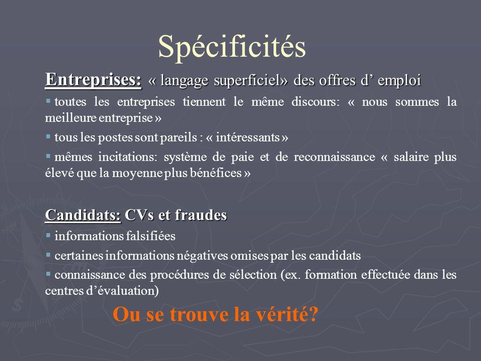 Spécificités Entreprises: « langage superficiel» des offres d emploi toutes les entreprises tiennent le même discours: « nous sommes la meilleure entr