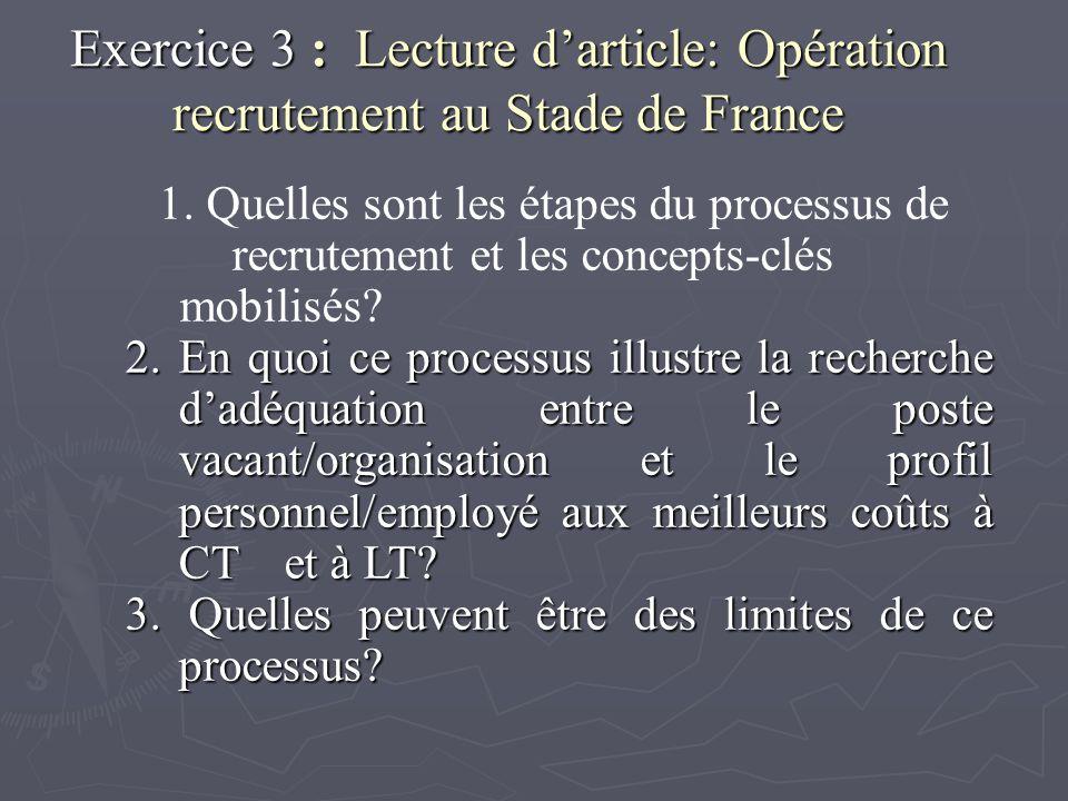 Exercice 3 : Lecture darticle: Opération recrutement au Stade de France 1. Quelles sont les étapes du processus de recrutement et les concepts-clés mo
