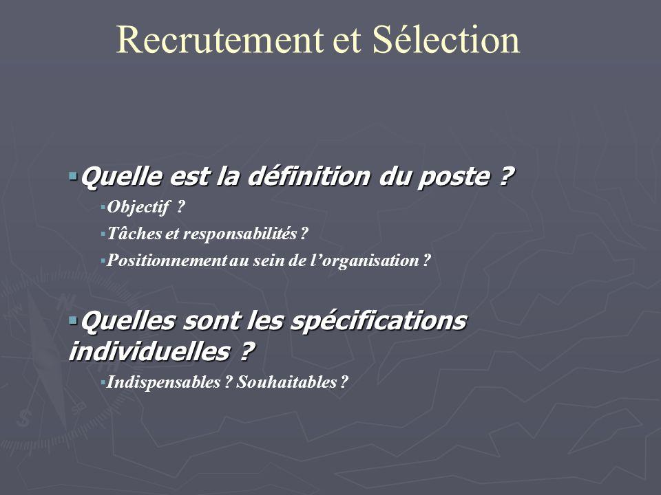 Recrutement et Sélection Quelle est la définition du poste ? Quelle est la définition du poste ? Objectif ? Tâches et responsabilités ? Positionnement