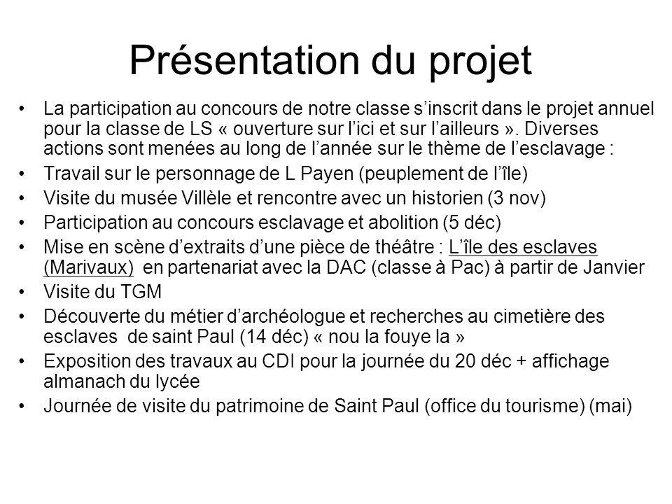 Présentation du projet La participation au concours de notre classe sinscrit dans le projet annuel pour la classe de LS « ouverture sur lici et sur la