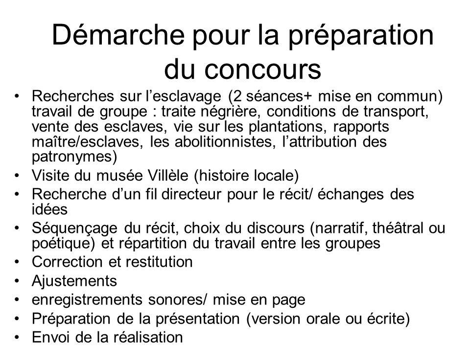 Démarche pour la préparation du concours Recherches sur lesclavage (2 séances+ mise en commun) travail de groupe : traite négrière, conditions de tran