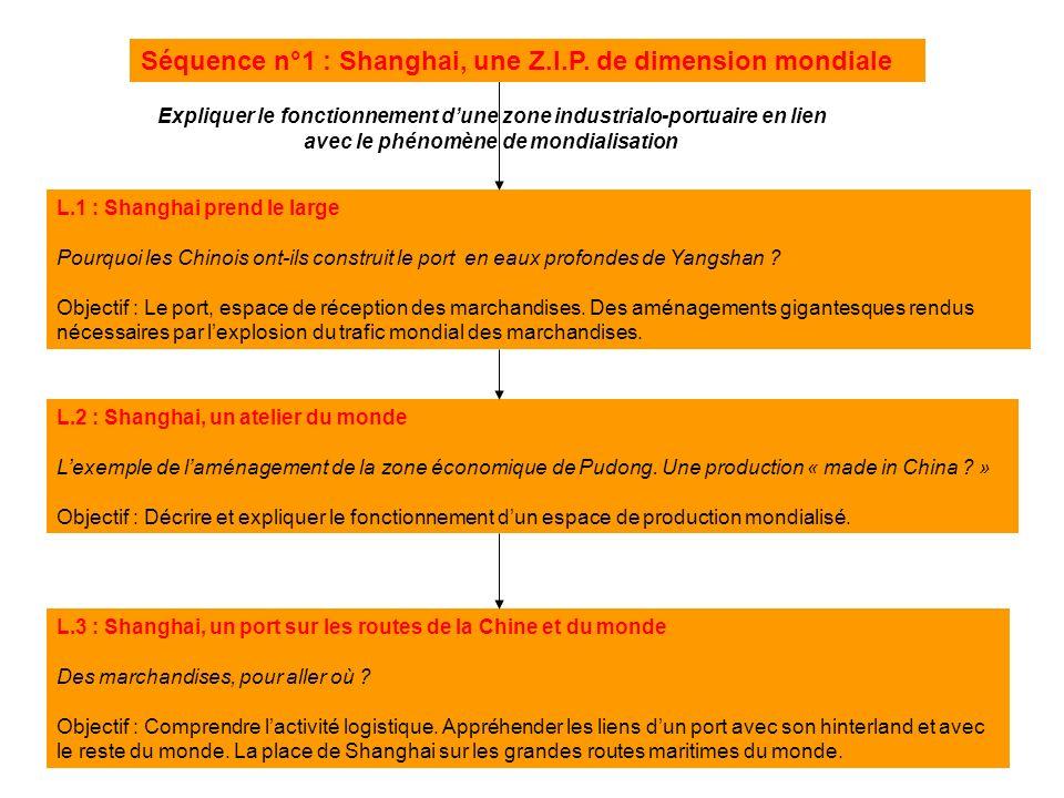 L.1 : Shanghai prend le large Pourquoi les Chinois ont-ils construit le port en eaux profondes de Yangshan ? Objectif : Le port, espace de réception d