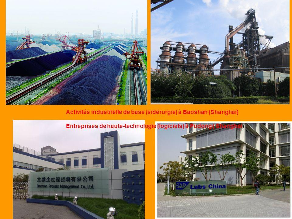 Entreprises de haute-technologie (logiciels) à Pudong ( Shanghai) Activités industrielle de base (sidérurgie) à Baoshan (Shanghai)