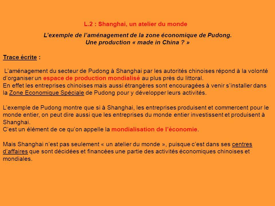 Lexemple de laménagement de la zone économique de Pudong. Une production « made in China ? » Trace écrite : Laménagement du secteur de Pudong à Shangh