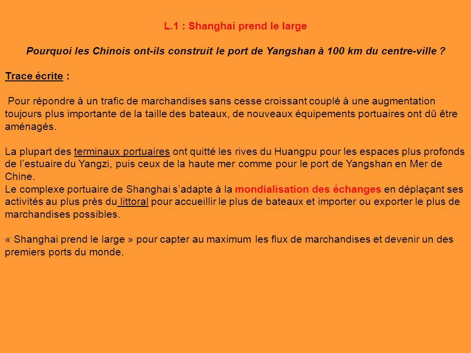L.1 : Shanghai prend le large Pourquoi les Chinois ont-ils construit le port de Yangshan à 100 km du centre-ville ? Trace écrite : Pour répondre à un
