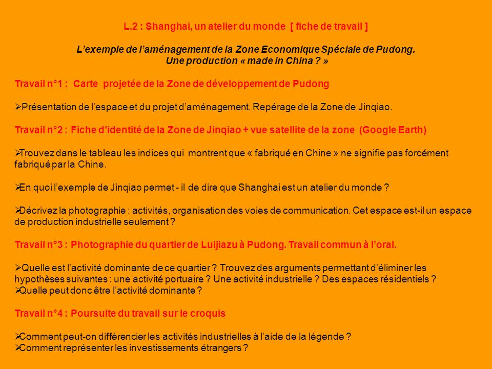 L.2 : Shanghai, un atelier du monde [ fiche de travail ] Lexemple de laménagement de la Zone Economique Spéciale de Pudong. Une production « made in C
