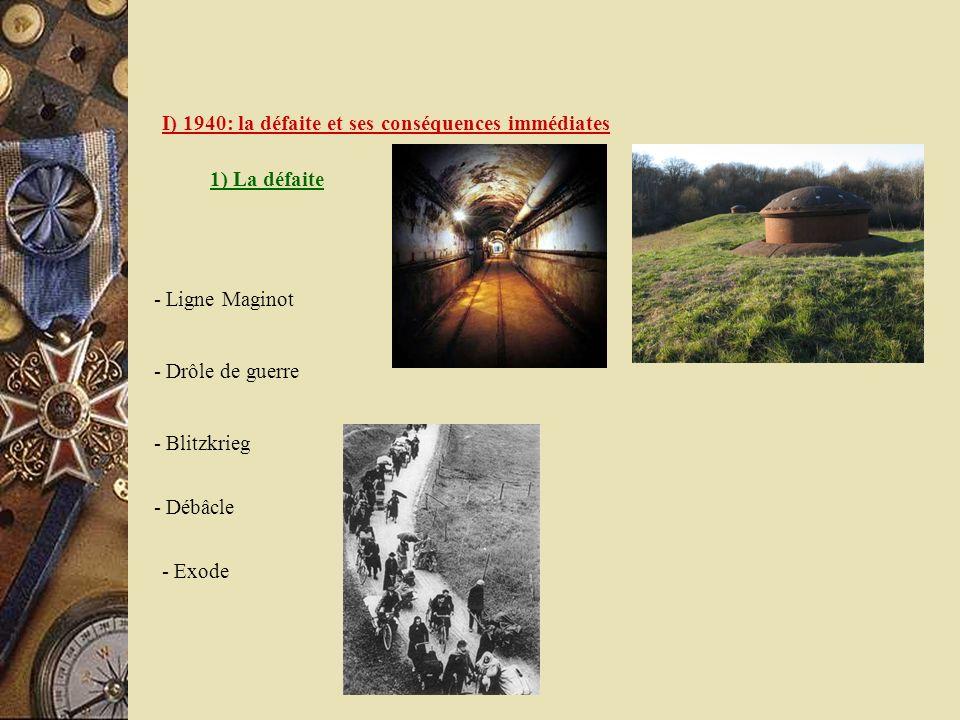 I) 1940: la défaite et ses conséquences immédiates 1) La défaite - Drôle de guerre - Ligne Maginot - Blitzkrieg - Débâcle - Exode